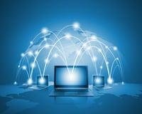 Laptops against globe blue illustration. Globalization concepts