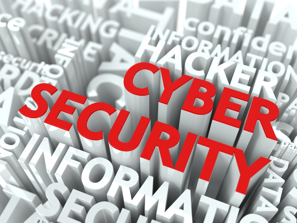 Cyber Security Concept. The Word of Red Color Located over Text of White Color.-1